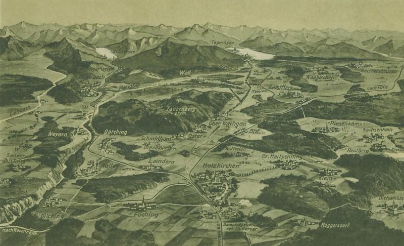 Panoramakarte, gezeichnet (Ansichtskarte Hugel, Holzkirchen) (um 1900)