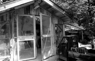 Tobels Werkstatt in Valley zwischen Bäumen gelegen